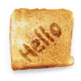 Slice of bread says hello Stock Images