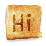 Slice of bread says hi Royalty Free Stock Photos