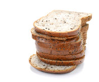 Slice of bread , sesame bread on white background. Stock Image