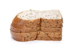 Slice of bread , sesame bread on white background. Royalty Free Stock Images