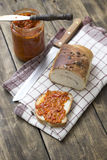 Slice of bread smeared with chutney Stock Image