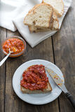 Slice of bread smeared with homemade chutney Stock Image