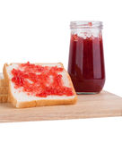 Slice of bread with strawberry jam Royalty Free Stock Photos