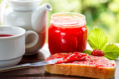 Slice of bread with strawberry jam Royalty Free Stock Photo