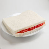 Slice of bread with strawberry jam. Sandwich Stock Image