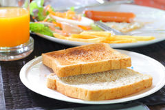 A slice of bread on the table Royalty Free Stock Photos