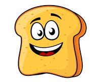 Slice of bread or toast with a beaming smile stock illustration