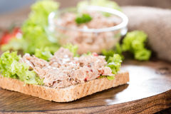 Slice of bread with Tuna salad Royalty Free Stock Images