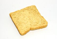 Slice of bread on white background. Royalty Free Stock Photo