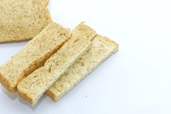 Slice of bread on white background. Royalty Free Stock Photos