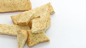 Slice of bread on white background. Breackfast food Stock Images