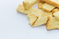 Slice of bread on white background. Royalty Free Stock Photography