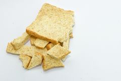 Slice of bread on white background. Breackfast food Royalty Free Stock Image