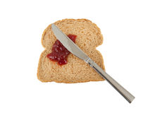 Slice of brown bread with jam Stock Photography