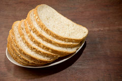 Slice brown cut plain bread Stock Photo