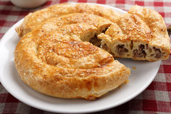 Slice of burek. With meat closeup Stock Images