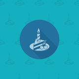 Slice of Cake with Candle. Happy Birthday Icon. Slice of Cake with Candle. Simple, Minimalistic and Flat Style. Monochrome color. Long Shadow. Vector Royalty Free Stock Photography