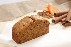 Slice cake with carrot cinnamon and pecan stock photography