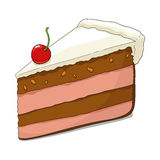 Slice of cake with cherry Stock Photos