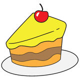 Slice of Cake Doodle Stock Photo