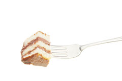 Slice of cake on a fork Stock Photography