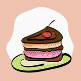 Slice of Cake Hand-Drawn Cartoon Royalty Free Stock Image