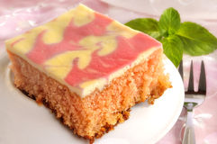 Slice of cake with icing Stock Image