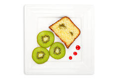 Slice of cake with kiwi Royalty Free Stock Image