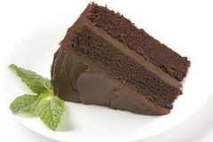 Slice of Cake with Mint Leaves royalty free stock photo