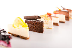 Slice cake selection delicious sweet tart Stock Photos