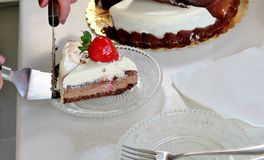 A slice of cake of three different layers with strawberries on a small plate royalty free stock photo