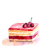 Slice of cake. Watercolor birthday card. Watercolor background with slice of cake Stock Images