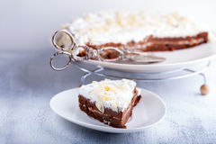 A slice of carrot cake. Gluten-free, flour from rice, flax. Selective focus Royalty Free Stock Photo