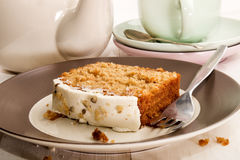 Slice carrot cake on a plate Stock Images