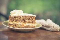 Slice of carrot cake on plate Stock Image