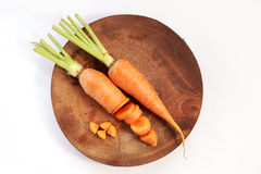 Slice carrot on cutting board Royalty Free Stock Photo