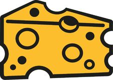 Slice of cheese cartoon style royalty free illustration