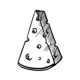 Slice of cheese with holes, sketch image Royalty Free Stock Photos