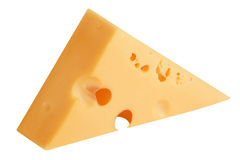 Slice of cheese isolated on white Stock Image