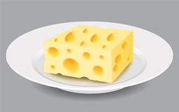 Slice of Cheese on a Plate. Vector Illustration. Royalty Free Stock Images