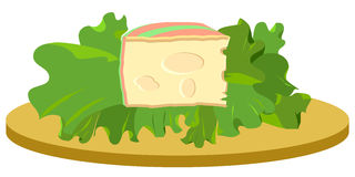 Slice of cheese on salad illustration Royalty Free Stock Photo
