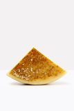 Slice of cheese on white Royalty Free Stock Photography