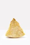 Slice of cheese on white Stock Photos