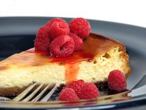 Slice of cheesecake. On plate stock photography