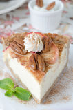 Slice of cheesecake with apples Royalty Free Stock Photos