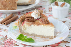 Slice of cheesecake with apples Stock Image