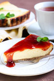 Slice of cheesecake Stock Photos
