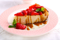 Slice of cheesecake with strawberry Stock Photo