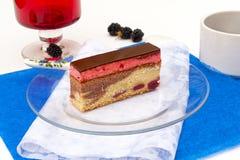 Slice of cherry cake Stock Photo