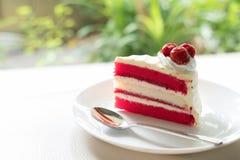 Cherry cake. tasty delicious dessert on white plate. homemade ba Stock Photos